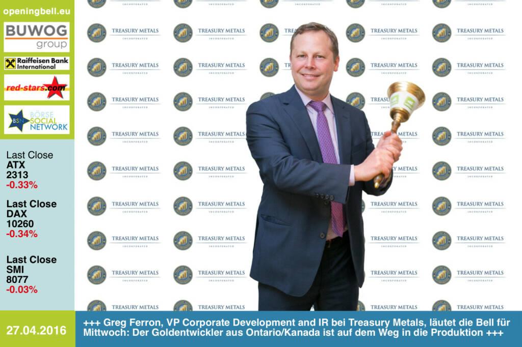 #openingbell am 27.4: Greg Ferron, VP Corporate Development and IR bei Treasury Metals,läutet die Opening Bell für Mittwoch: Der Goldentwickleraus Ontario/Kanada ist auf dem Weg in die Produktion http://www.treasurymetals.com http://www.openingbell.eu (27.04.2016)