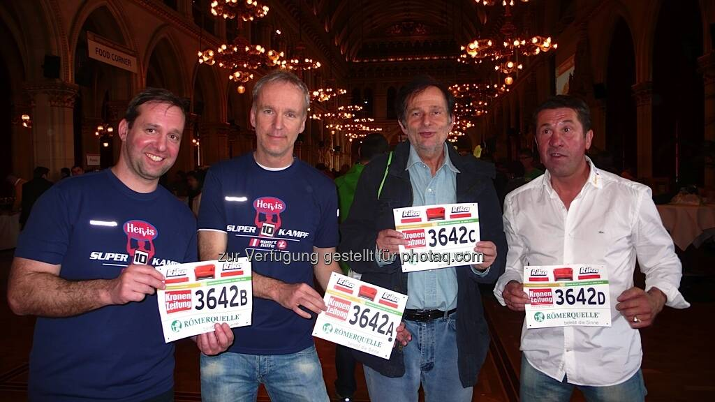 VCM 2013: Die Sporthilfe-Staffel mit Norbert Haimberger, Christian Drastil, Roland Herzog und Conny König, © Bilder Max Meissl bzw. diverse Smartphones (13.04.2013)
