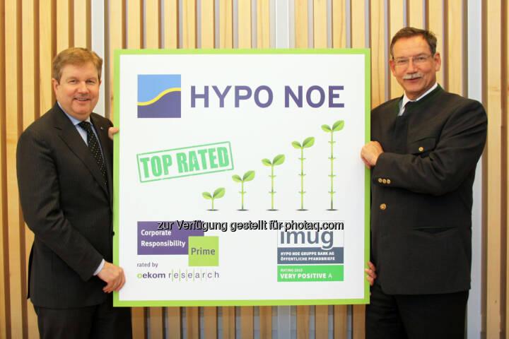 "Peter Harold (Generaldirektor), Nikolai de Arnoldi (Finanzvorstand) : ""Prime""-Rating für nachhaltige Hypo NOE : Fotocredit: Hypo NOE/Zalas"