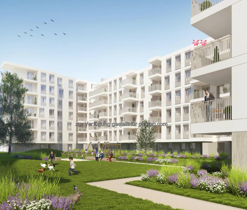 """Visualisierung  Wohnhausanlage """"Wohnbau Süd"""" : Spatenstich für 220 Mietwohnungen nahe der Erdberger Lände : Fotocredit: CA Immo, © Aussendung (04.05.2016)"""