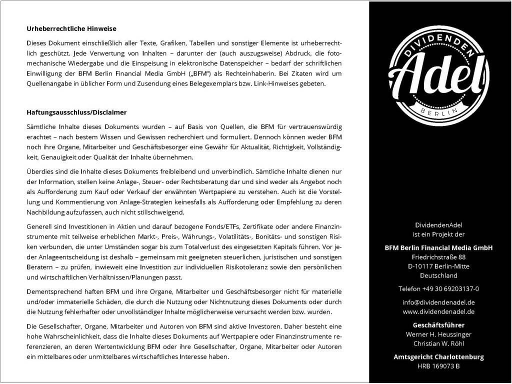 Dividendenstudie Österreich 2016 Urheberrechtliche Hinweise, © BSN/Dividendenadel.de (06.05.2016)