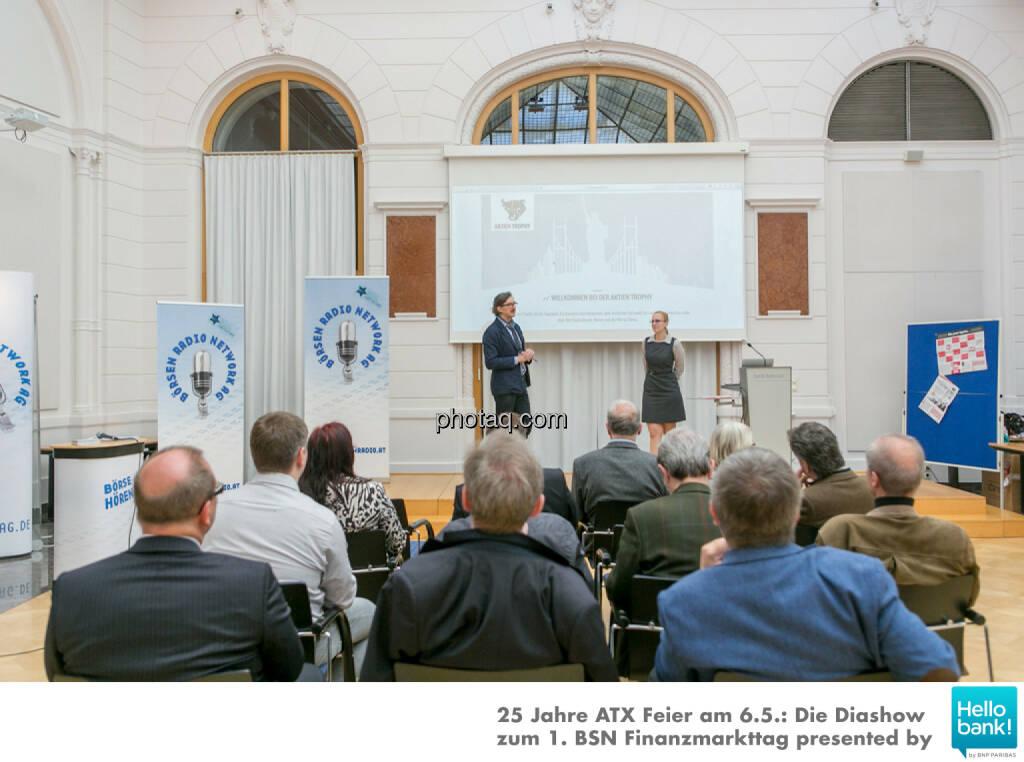 Josef Chladek (BSN), Angelika Scheid (S Immo) für http://www.aktientrophy.at, © Martina Draper/photaq (07.05.2016)