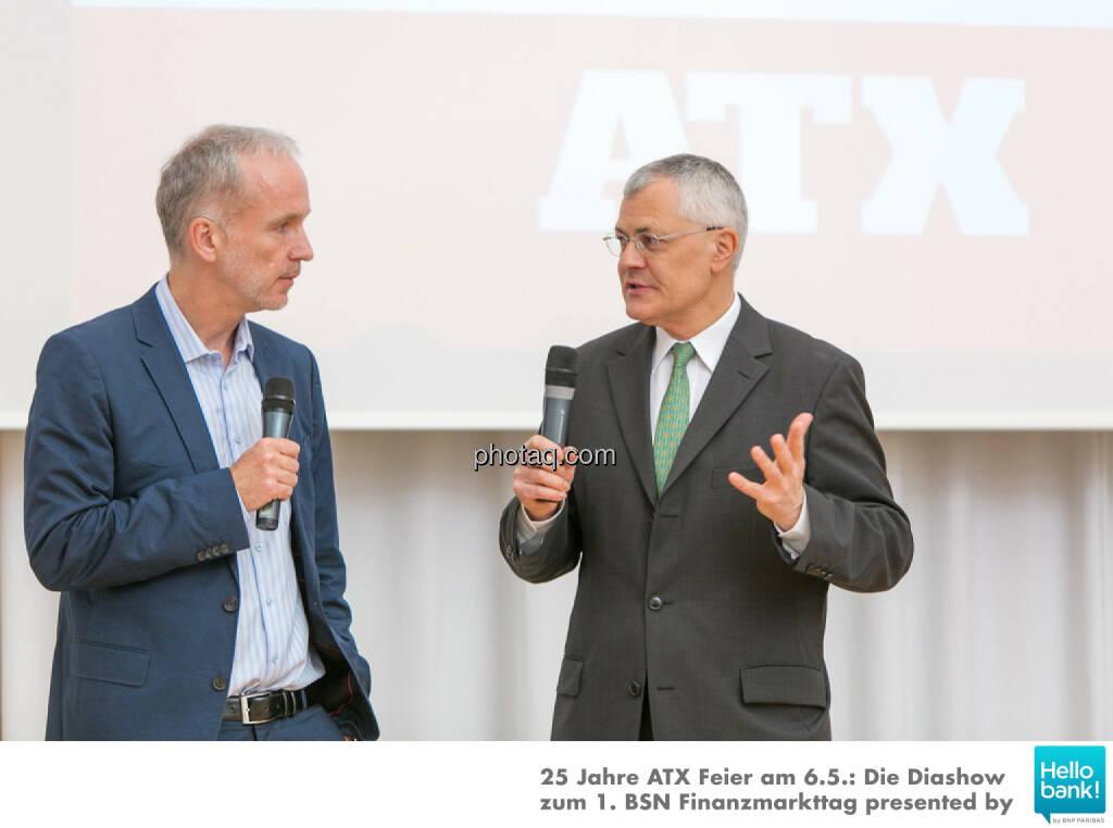 25 Jahre ATX: Christian Drastil, Michael Buhl auf der Bühne der OeKB, © Martina Draper/photaq (07.05.2016)