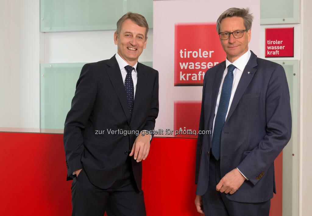 Erich Entstrasser (Tiwag-Vorstandsvors.), Reinhard Schretter (Aufsichtsratschef) : Tiroler Wasserkraft AG : Hervorragende Bilanz 2015 trotz schwieriger Rahmenbedingungen : Fotocredit: Tiwag, © Aussendung (10.05.2016)