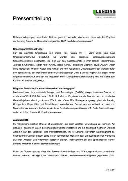 Lenzing Q1/2016, Seite 2/4, komplettes Dokument unter http://boerse-social.com/static/uploads/file_1046_lenzing_q12016.pdf (12.05.2016)