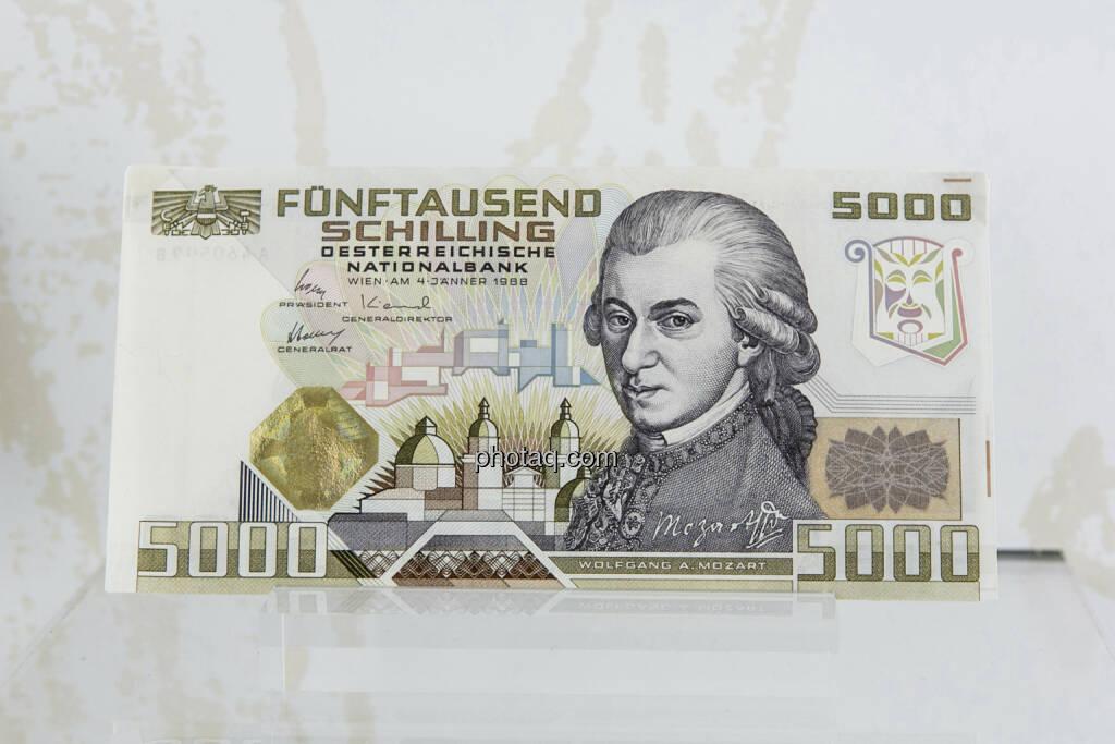 5000-Schilling-Note aus dem Jahr 1988, Wolfgang Amadeus Mozart, © finanzmarktfoto.at/Martina Draper (15.04.2013)