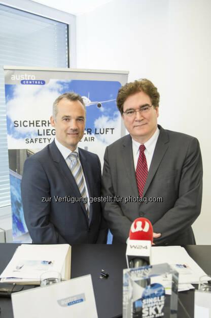 Thomas Hoffmann (GF COO), Heinz Sommerbauer (CEO) : Austro Control: Erfolgreiches Jahr 2015 : Fotocredit: Austro Control/ Lorenz, © Aussender (12.05.2016)