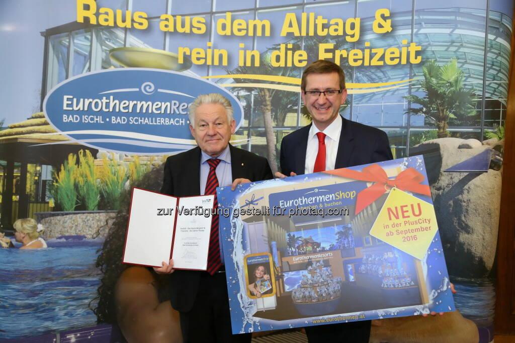 Josef Pühringer (LH OÖ), Markus Achleitner (Eurothermen-General) : Eurothermen setzen Trends mit touristischen Innovationen : Fotocredit: EurothermenResorts , © Aussender (12.05.2016)