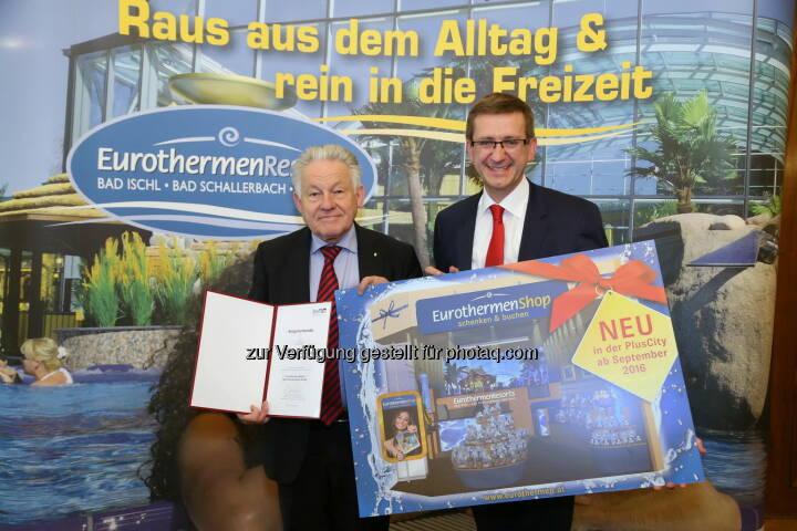 Josef Pühringer (LH OÖ), Markus Achleitner (Eurothermen-General) : Eurothermen setzen Trends mit touristischen Innovationen : Fotocredit: EurothermenResorts