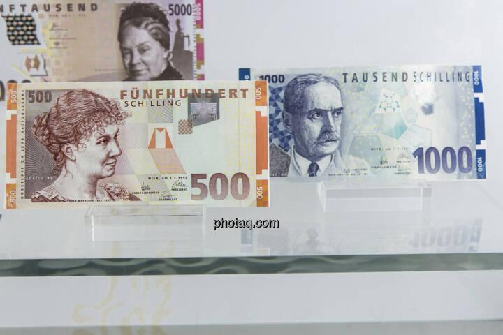 500-, Rosa Mayreder und 1.000-Schilling-Note, Karl Landsteiner,  aus dem Jahr 1997