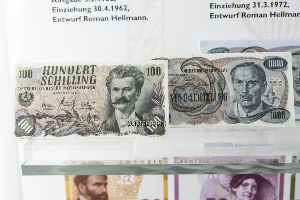 100-Schilling-Note aus dem Jahr 1960, 1.000 Schiling Note aus dem Jahr 1961, © finanzmarktfoto.at/Martina Draper (15.04.2013)