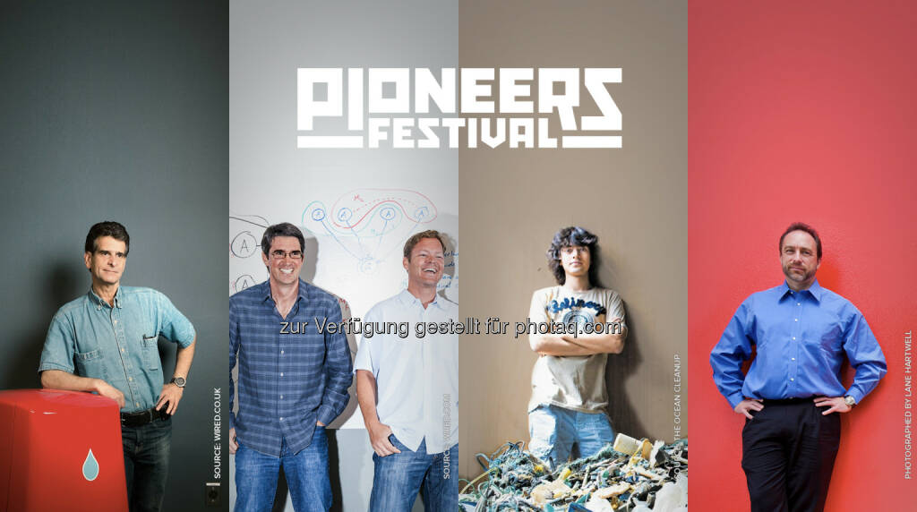 Dean Kamen (First), Adam Cheyer & Dag Kittlaus (VIV), Boyan Slat (The Ocean Cleanup), Jimmy Wales (Wikipedia) : Alle performen am Pioneers Festival 2016 : Von künstlicher Intelligenz bis Virtual Reality: Innovative Technologien aus aller Welt feiern ihre Premiere am Pioneers Festival : Fotocredit: Pioneers (13.05.2016)