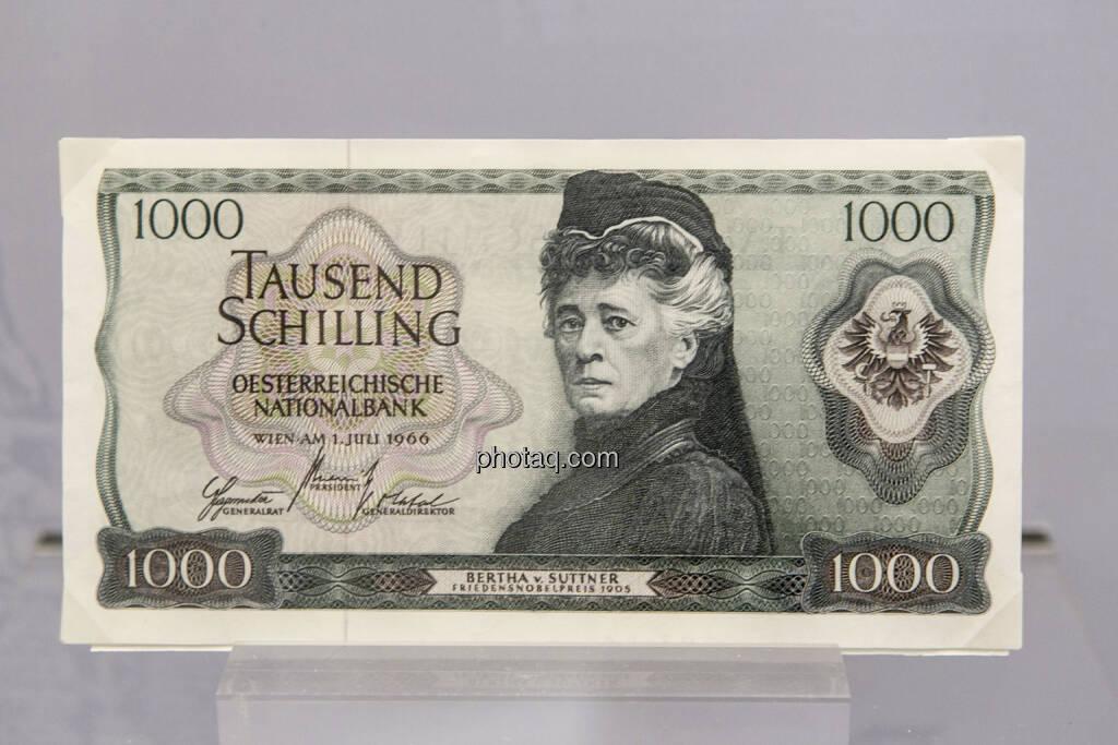 1.000 Schilling Note aus dem Jahr 1966, Bertha v. Suttner, © finanzmarktfoto.at/Martina Draper (15.04.2013)