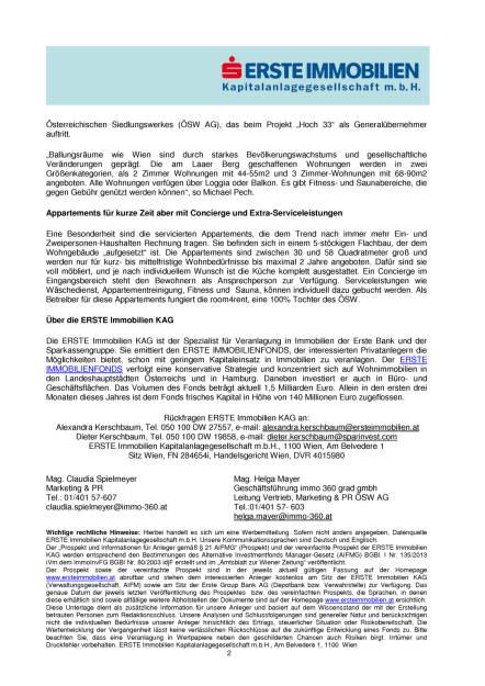 ERSTE Immobilien KAG errichtet die höchst gelegenen Mietwohnungen Wiens, Seite 2/3, komplettes Dokument unter http://boerse-social.com/static/uploads/file_1067_erste_immobilien_kag_errichtet_die_hochst_gelegenen_mietwohnungen_wiens.pdf (17.05.2016)