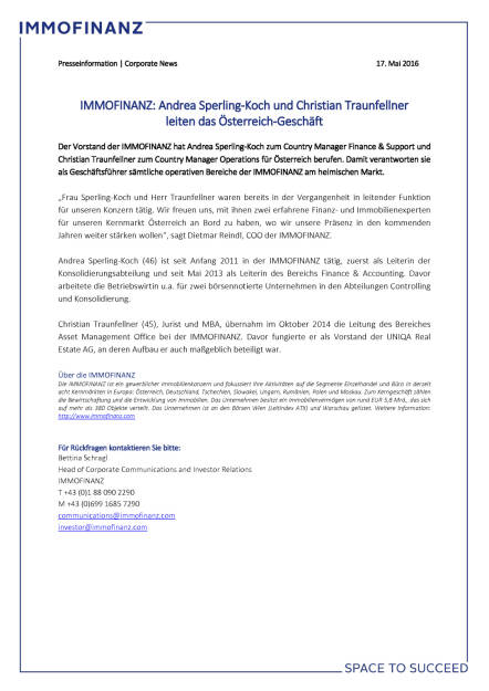 Immofinanz: Andrea Sperling-Koch und Christian Traunfellner  leiten das Österreich-Geschäft, Seite 1/1, komplettes Dokument unter http://boerse-social.com/static/uploads/file_1069_immofinanz_andrea_sperling-koch_und_christian_traunfellner_leiten_das_osterreich-geschaft.pdf (17.05.2016)