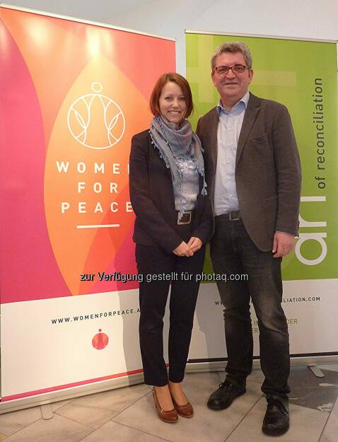 "Nina Missethon (Management Women for Peace Konferenz), Hannes Missethon (Gründer Initiative Art of Reconciliation) : ""Women for Peace""-Konferenz bringt 3 Friedensnobelpreisträgerinnen und UN Sonderbeauftragte nach Graz : Fotocredit: AoR/WfP, © Aussender (17.05.2016)"