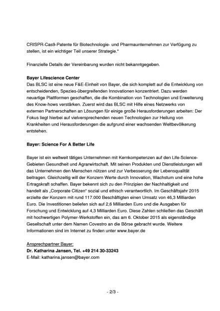 Bayer und ERS Genomics vereinbaren Lizenz für Patente zur Genom-Editierung , Seite 2/3, komplettes Dokument unter http://boerse-social.com/static/uploads/file_1070_bayer_und_ers_genomics_vereinbaren_lizenz_fur_patente_zur_genom-editierung.pdf (17.05.2016)