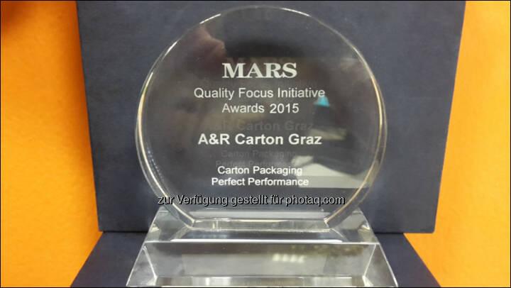 A&R Carton Graz mit Quality Award des Mars Konzerns ausgezeichnet : Fotocredit: A&R Carton Graz