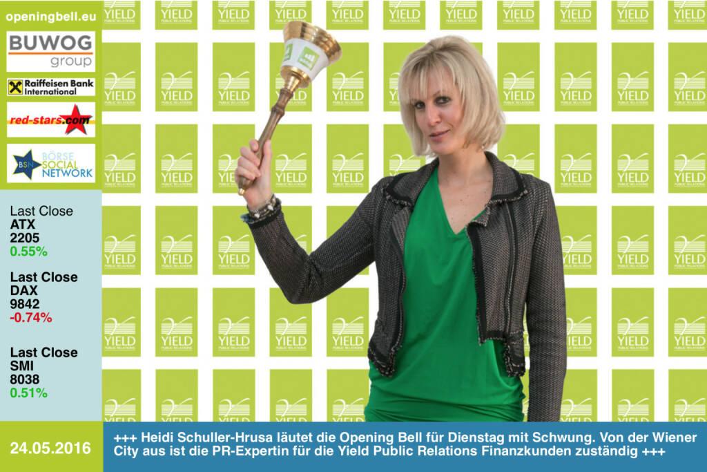 #openingbell am 24.5: Heidi Schuller-Hrusa läutet die Opening Bell für Dienstag mit Schwung. Von der Wiener City aus ist die PR-Expertin für die Yield Public Relations Finanzkunden zuständig http://www.yield.at http://www.openingbell.eu (24.05.2016)