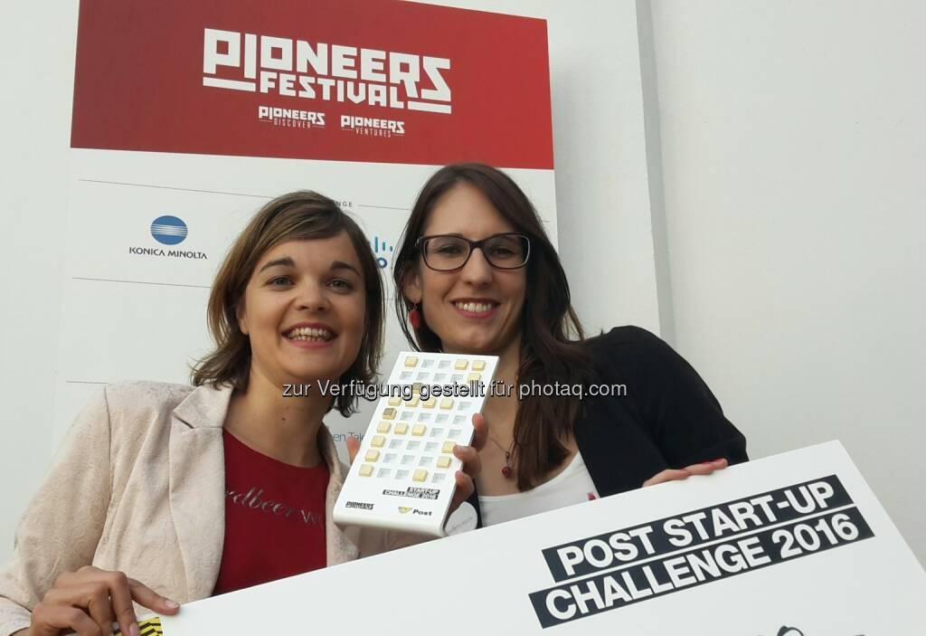 Bettina Steinbrugger und Annemarie Harant (erdbeerwoche-Gründerinnen) : erdbeerwoche gewinnt Post Startup Challenge am Pioneers Festival 2016 : Fotocredit: erdbeerwoche, © Aussendung (25.05.2016)