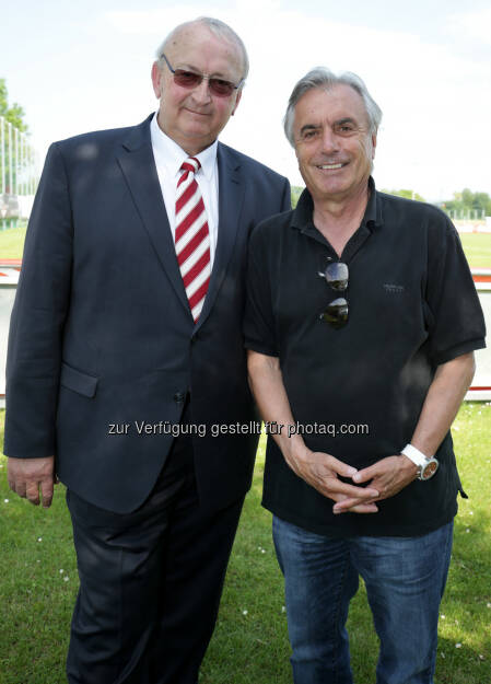 Johann Gartner (NÖFV-Präsident), Hans Huber (Ex-Chef ORF/Sport) :  Coca-Cola Cup Landesfinale in St. Pölten : Fotocredit: Coca-Cola/GEPA, © Aussendung (26.05.2016)