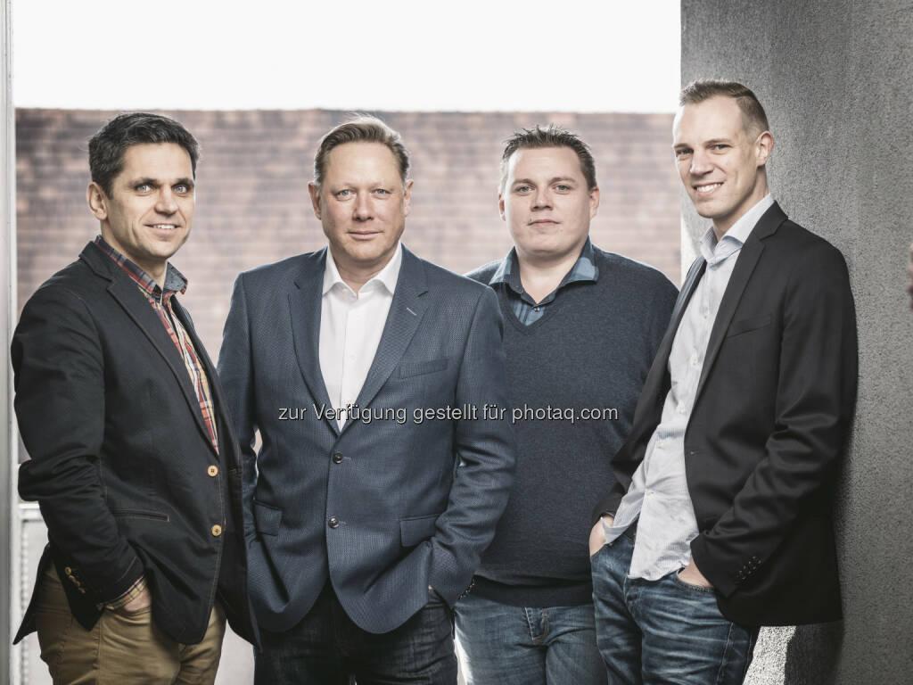 Michael Altrichter, Herbert Gartner, Christian Janesch, Thomas Kriebernegg : App Radar gewinnt über 500 Firmenkunden im Gründungsquartal : Fotocredit: appers/Leitner, © Aussendung (30.05.2016)