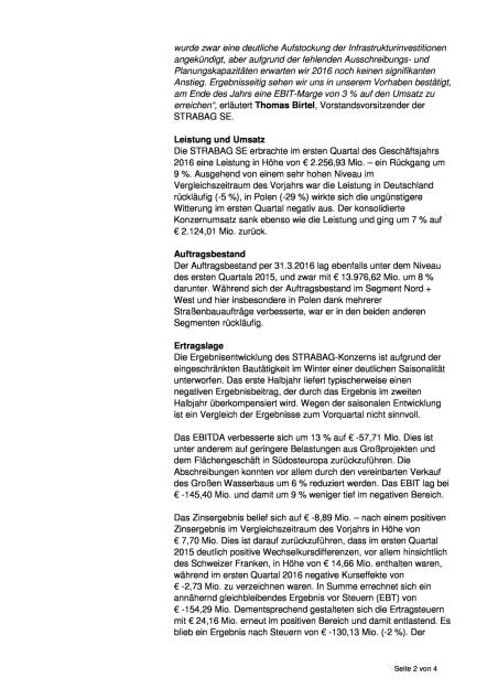 Strabag SE verringert saisonüblichen Winterverlust im ersten Quartal 2016, Seite 2/4, komplettes Dokument unter http://boerse-social.com/static/uploads/file_1134_strabag_se_verringert_saisonublichen_winterverlust_im_ersten_quartal_2016.pdf (31.05.2016)