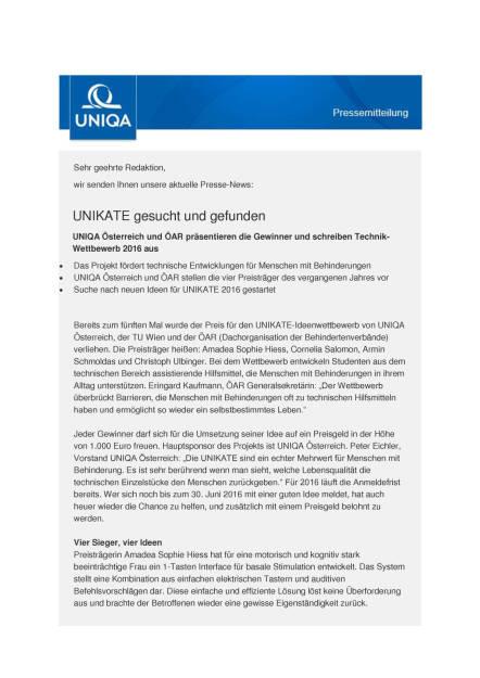Uniqa: Unikate gesucht und gefunden, Seite 1/4, komplettes Dokument unter http://boerse-social.com/static/uploads/file_1141_uniqa_unikate_gesucht_und_gefunden.pdf (31.05.2016)