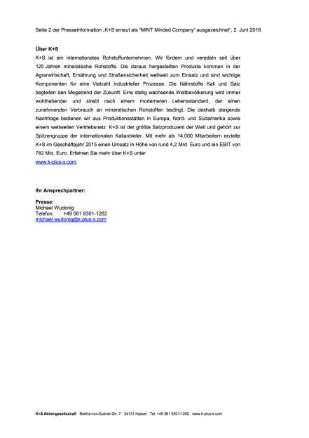 """K+S erneut als """"MINT Minded Company"""" ausgezeichnet, Seite 2/2, komplettes Dokument unter http://boerse-social.com/static/uploads/file_1159_ks_erneut_als_mint_minded_company_ausgezeichnet.pdf (02.06.2016)"""