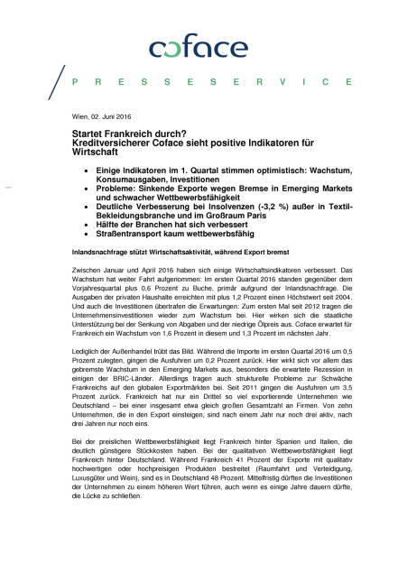 Coface: Startet Frankreich durch?, Seite 1/3, komplettes Dokument unter http://boerse-social.com/static/uploads/file_1160_coface_startet_frankreich_durch.pdf (02.06.2016)