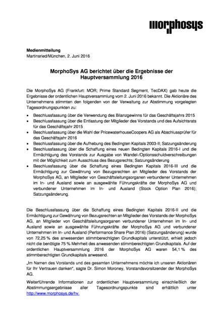 MorphoSys: Ergebnisse der Hauptversammlung, Seite 1/2, komplettes Dokument unter http://boerse-social.com/static/uploads/file_1161_morphosys_ergebnisse_der_hauptversammlung.pdf (02.06.2016)