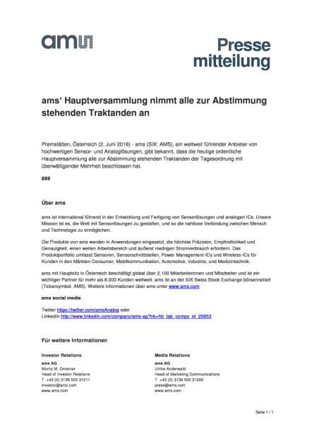 ams' AG: Beschlüsse Hauptversammlung, Seite 1/1, komplettes Dokument unter http://boerse-social.com/static/uploads/file_1163_ams_ag_beschlusse_hauptversammlung.pdf (02.06.2016)