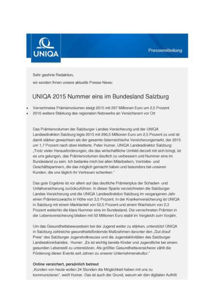 Uniqa: 2015 Nummer eins im Bundesland Salzburg, Seite 1/3, komplettes Dokument unter http://boerse-social.com/static/uploads/file_1164_uniqa_2015_nummer_eins_im_bundesland_salzburg.pdf (03.06.2016)