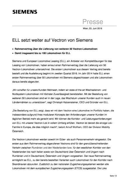 Siemens: ELL setzt weiter auf Vectron, Seite 1/2, komplettes Dokument unter http://boerse-social.com/static/uploads/file_1167_siemens_ell_setzt_weiter_auf_vectron.pdf (03.06.2016)