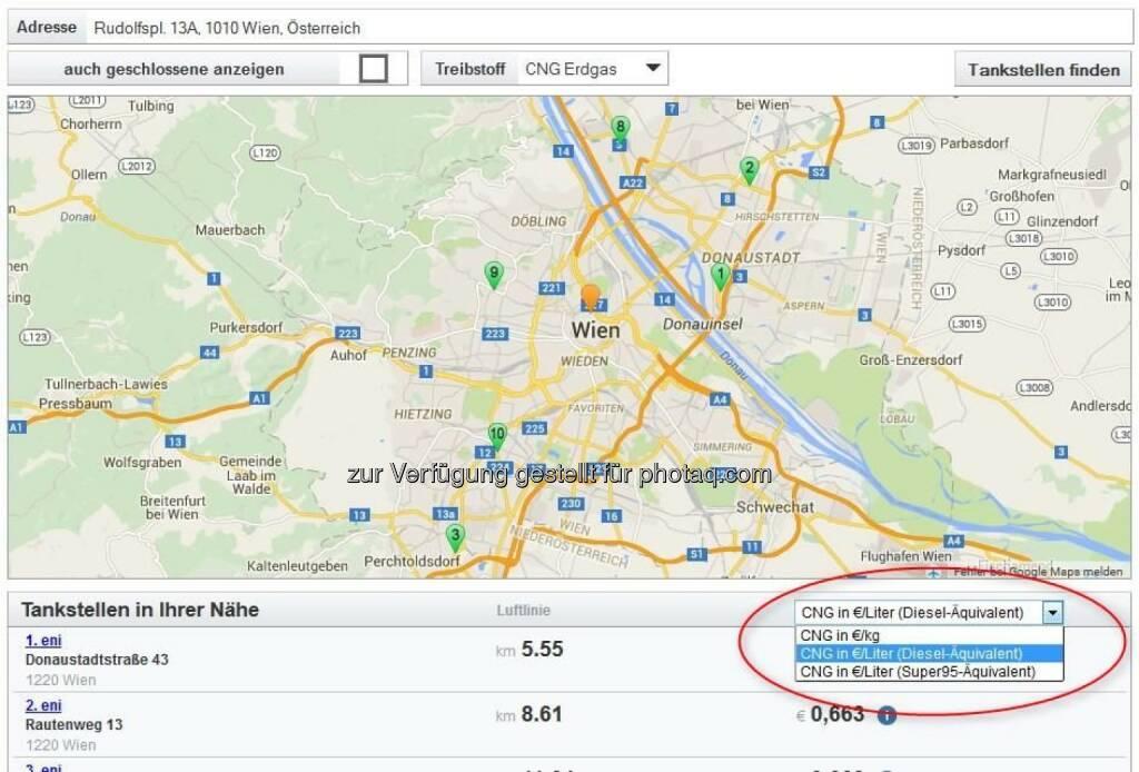 www.spritpreisrechner.at : Ab sofort ist mit dem Spritpreisrechner auch die Suche nach den nächstgelegenen und günstigsten Erdgas-Tankstellen möglich : Fotocredit: E-Control, © Aussendung (05.06.2016)