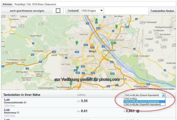 www.spritpreisrechner.at : Ab sofort ist mit dem Spritpreisrechner auch die Suche nach den nächstgelegenen und günstigsten Erdgas-Tankstellen möglich : Fotocredit: E-Control