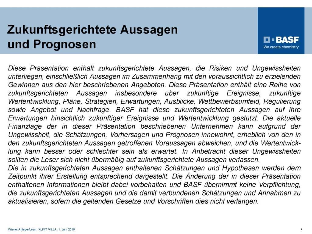 BASF - Aussagen und Prognosen (06.06.2016)