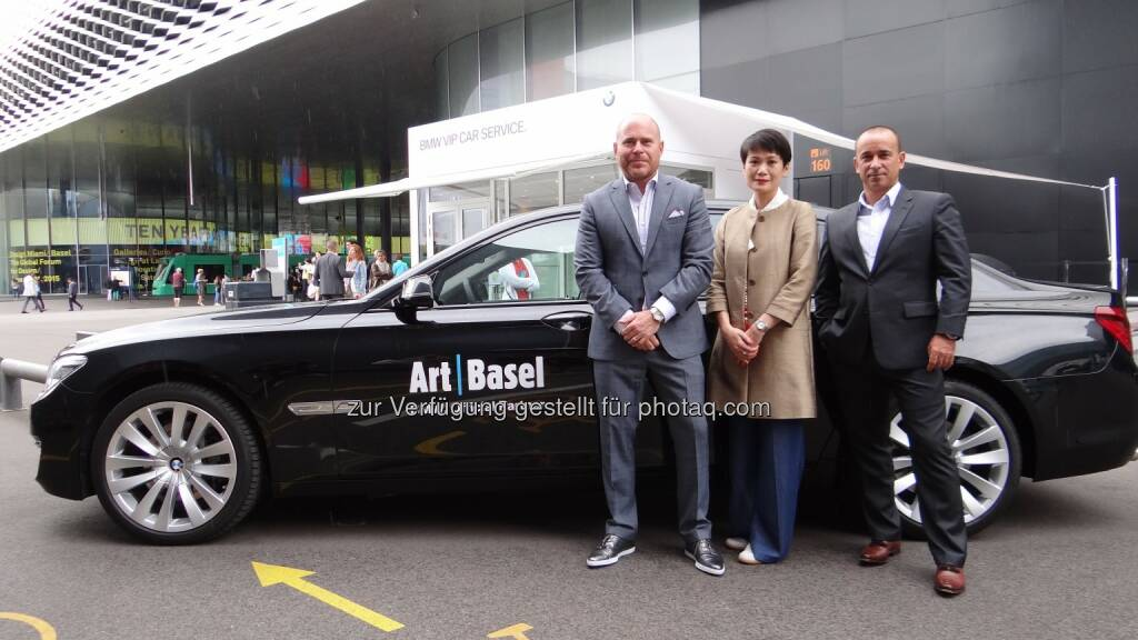 Patrick Foret (Director of Business Initiatives), Adeline Ooi (Director Asia), Marc Spiegel (Art Basel's Director) : BMW als offizieller Partner der Art Basel 2016 : Fotocredit © Belle & Company (06/2015), © Aussendung (06.06.2016)