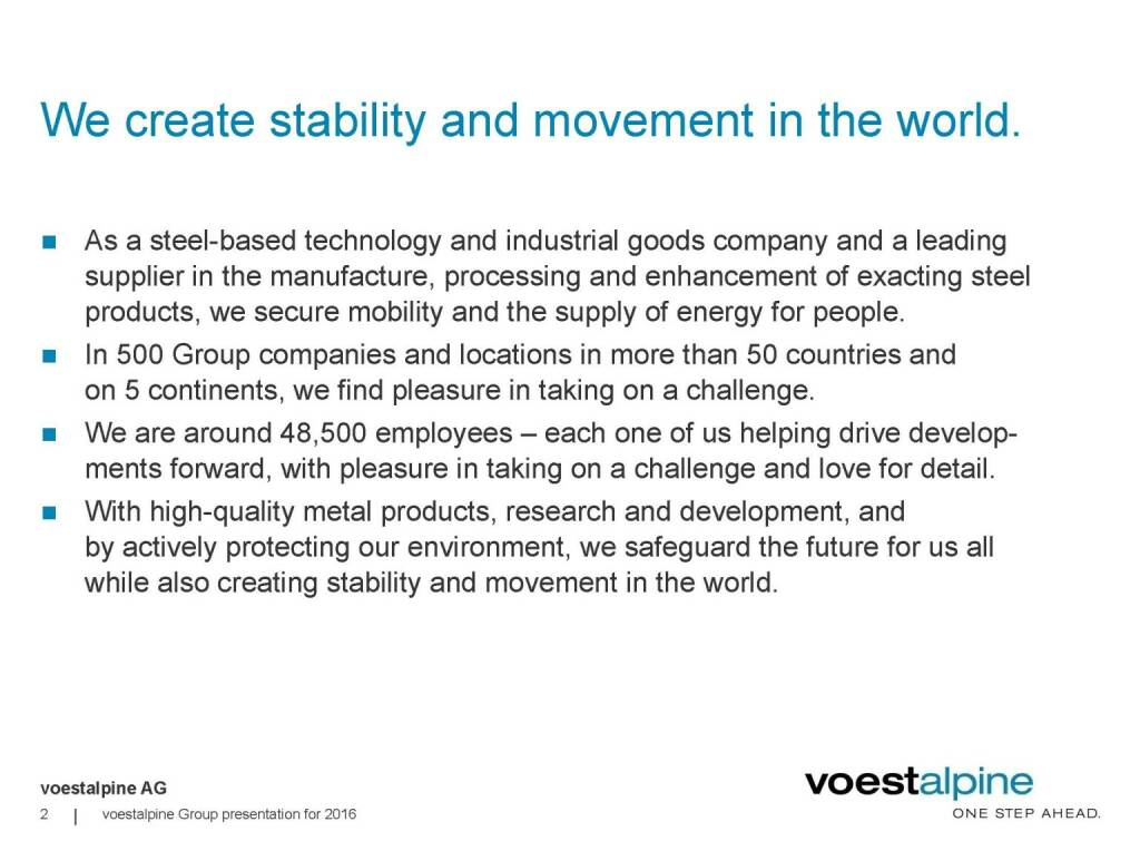 voestalpine - We create stability and movement in the world. (06.06.2016)