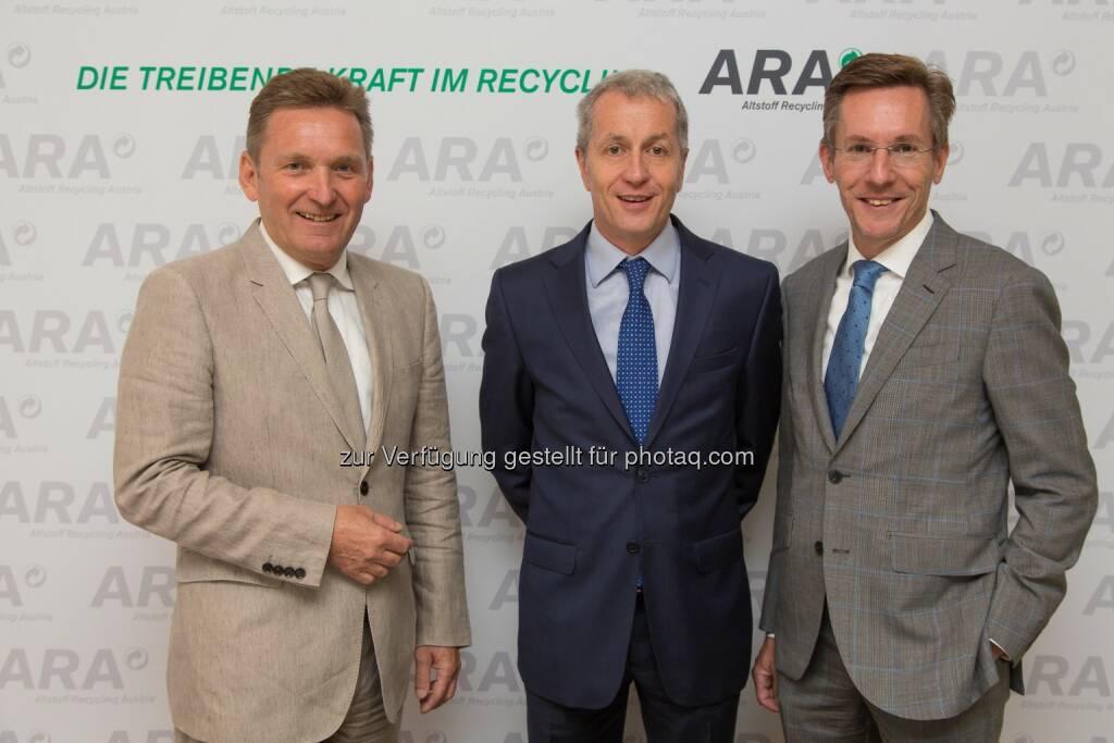 Werner Knausz (ARA Vorstand), Alfred Berger (Aufsichtsratsvorsitzender der ARA), Christoph Scharff (ARA Vorstand) : ARA: Sammelmengen bleiben konstant : Fotocredit: Altstoff Recycling Austria AG/APA-Fotoservice/Tanzer, © Aussender (07.06.2016)