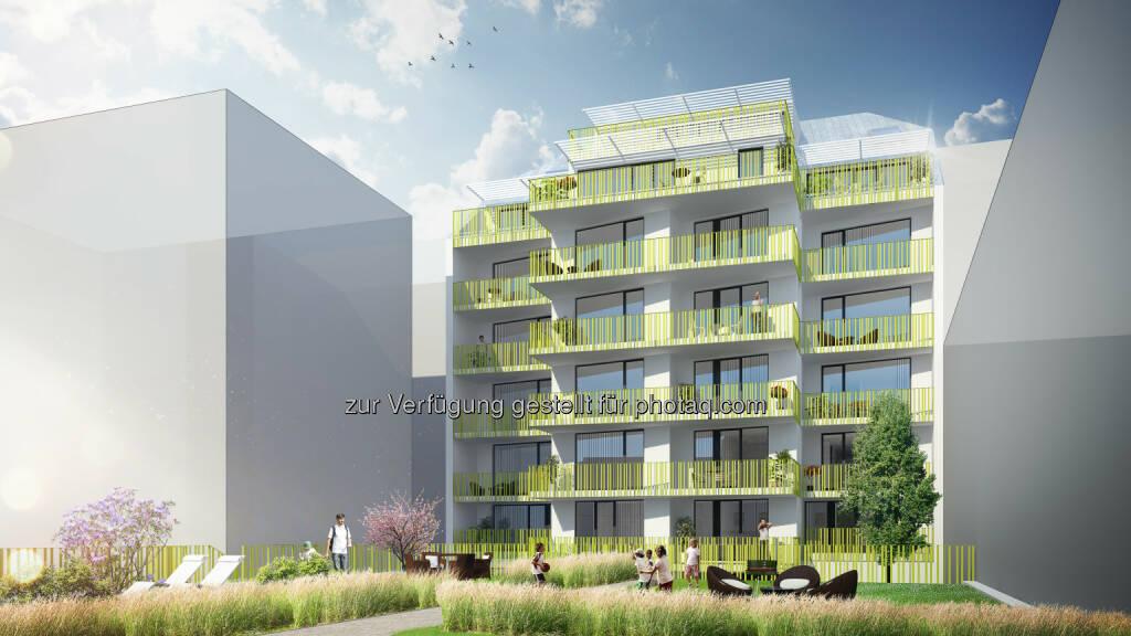 Visualisierung Erdbergstraße : Am 1. Juni fand die Dachgleichenfeier eines neuen Vorsorgewohnungsprojekts der RVW in 1030 Wien, Erdbergstraße 176 statt : Fotocredit: RVW, © Aussendung (07.06.2016)