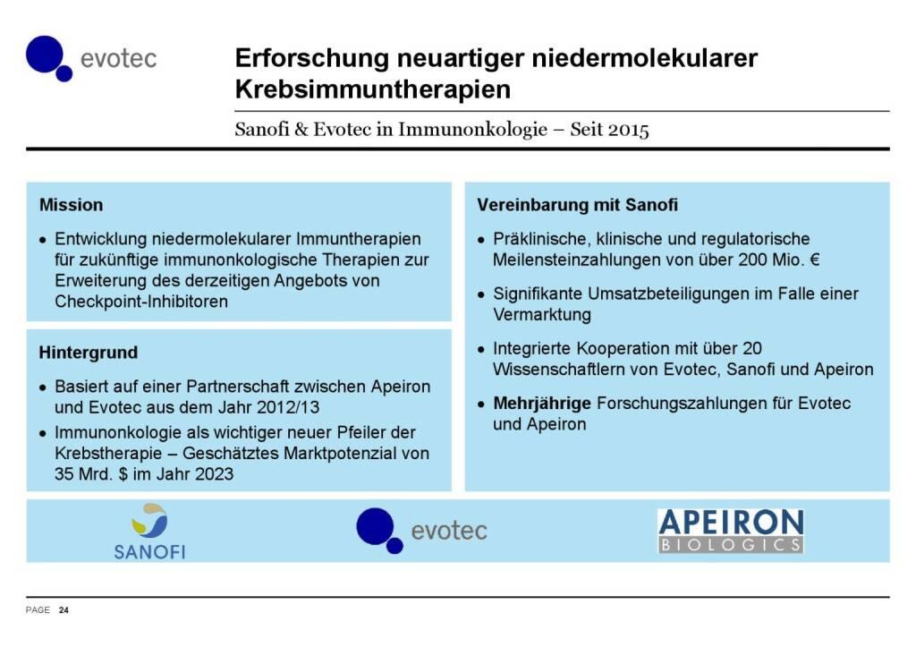 Evotec - Krebsimmuntherapien (07.06.2016)