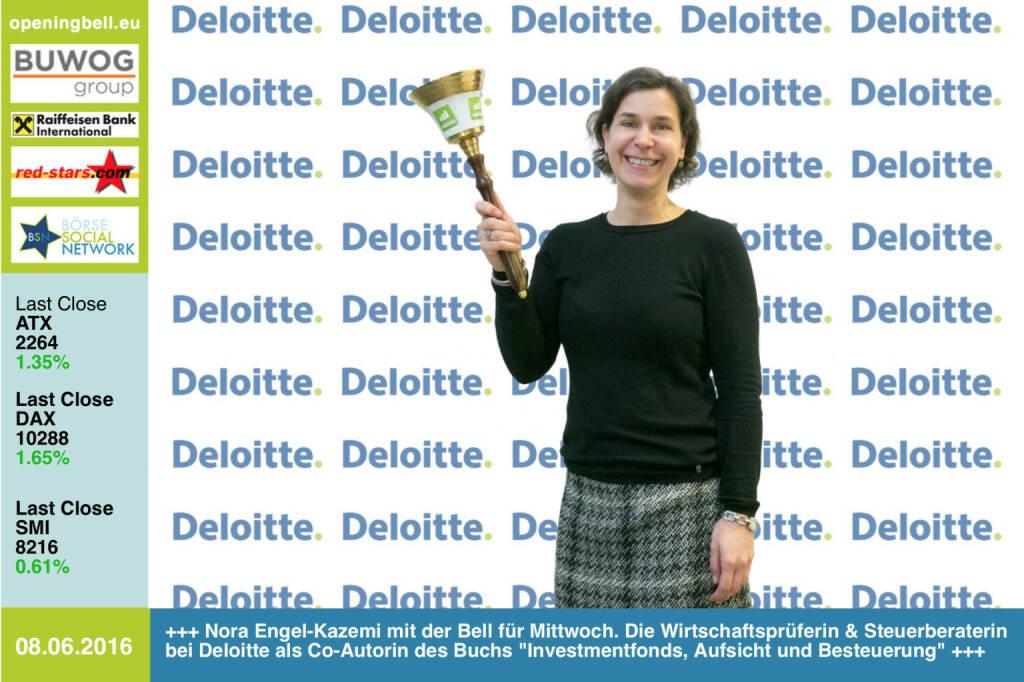 #openingbell am 8.6: Nora Engel-Kazemi mit der Opening Bell für Mittwoch. Die Wirtschaftsprüferin und Steuerberaterin bei Deloitte als Co-Autorin des Buchs Investmentfonds, Aufsicht und Besteuerung  http://www.http://boerse-social.com/financebooks/show/nora_engel-kazemi_daniel_w_blum_dominik_damm_armin_j_kammel_robert_pejhovsky_erik_pinetz_-_investmentfonds_-_aufsicht_und_besteuerung_invfg_-_aifmg_-_immoinvfg http://www.deloitte.at http://www.openingbell.eu (08.06.2016)