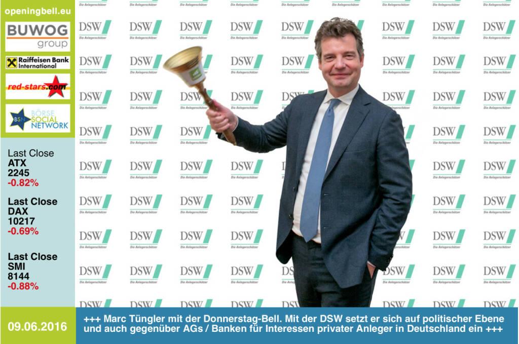 #openingbell am 9.6: Marc Tüngler mit der Opening Bell für Donnerstag. Mit der DSW setzt er sich auf politischer Ebene und auch gegenüber AGs / Banken für Interessen privater Anleger in Deutschland ein http://www.dsw-info.de http://www.openingbell.eu (09.06.2016)