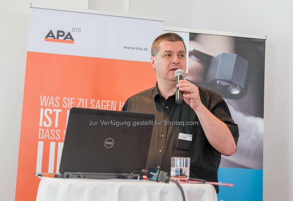 """Alfons Stockinger (APA-PictureDesk GmbH) : Veranstaltungsreihe """"Online-Marketing-Impulse"""" : Rechtliche Herausforderung für PR- und Werbetreibende : Fotocredit: APA-OTS/APA-Fotoservice/Angerer, © Aussender (09.06.2016)"""