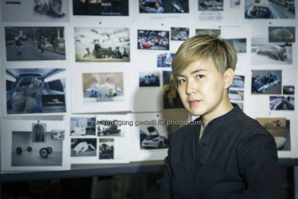 The artist Cao Fei in front of her inspiration wall for the 18th BMW Art Car project. Fotocredit: (c) the artist, Cao Fei Studio, © Aussendung (15.06.2016)