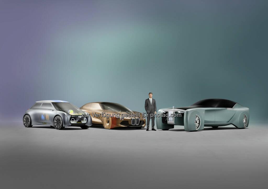 """Mini Vision Next 100, BMW Vision Next 100, Rolls-Royce Vision Next 100, Harald Krüger (Vorsitzender des Vorstands der BMW AG) : Die BMW Group eröffnete heute ihre Ausstellungs- und Veranstaltungsplattform """"Iconic Impulses. The BMW Group Future Experience"""" im Roundhouse in London : © BMW Group , © Aussendung (16.06.2016)"""