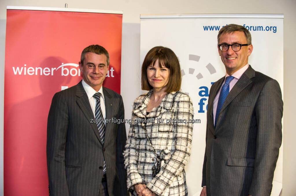 Heinrich Schaller, Birgit Kuras, Robert Ottel, mehr Bilder vom 27. FCC unter http://www.wienerborse.at/service/events/financial-community-club-16042013.html, © FCC (18.04.2013)