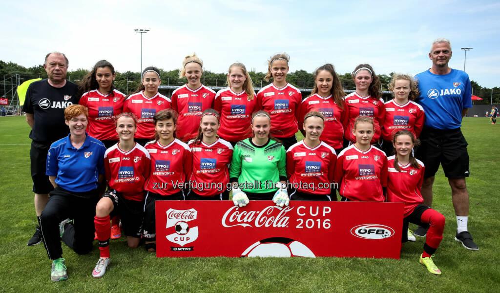 Mädchenteam Vorarlberg : Coca-Cola Girls CUP 2016 : Die Mannschaft aus Vorarlberg gewinnt das U16-Turnier in Wien : Fotocredit Coca-Cola/GEPA, © Aussendung (20.06.2016)