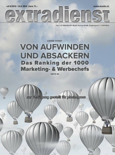 Coverillustration ExtraDienst-Ausgabe : ExtraDienst 6/2016 : Das Ranking der Top 1000 Marketingleiter : Fotocredit: Mucha Verlag/Grafik Mucha Verlag (24.06.2016)